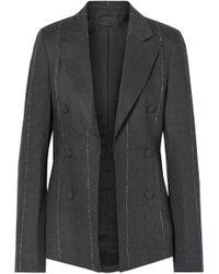 RTA - Grayson Striped Cotton-blend Twill Blazer Gray X Small - Lyst