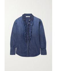 FRAME Ruffle Tux Denim Shirt - Blue