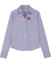 Title A - Embroidered Cotton-chambray Shirt - Lyst