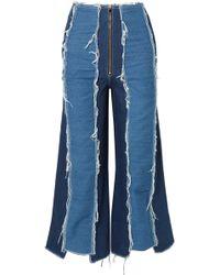 Rejina Pyo - Bella Cropped Distressed High-rise Wide-leg Jeans - Lyst