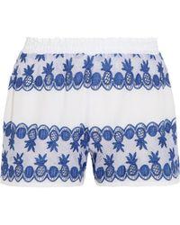 Miguelina - Paula Gauze-paneled Broderie Anglaise Cotton-voile Shorts - Lyst
