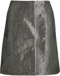 Kéji Metallic Denim Skirt - Gray