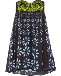 Holly Fulton - Nusch Embellished Wool-twill And Printed Silk Crepe De Chine Mini Dress - Lyst