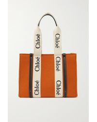 Chloé + Net Sustain Woody Mittelgroße Tote Aus Wolle Mit Lederbesätzen - Orange