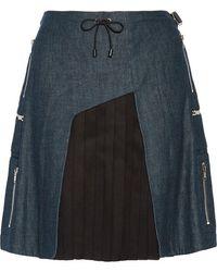 Tim Coppens - - Wool And Silk Blend-paneled Denim Mini Skirt - Dark Denim - Lyst