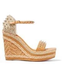 Christian Louboutin Madmonica 120 Spiked Raffia And Leather Espadrille Wedge Sandals - Multicolor