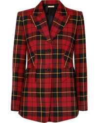 1f236745 Balmain Tartan Double-breasted Wool-twill Blazer in Red - Lyst