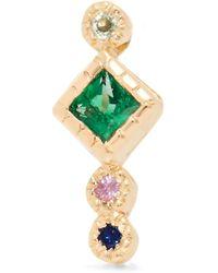 Jennie Kwon - Journey 14-karat Gold, Emerald And Sapphire Earring - Lyst