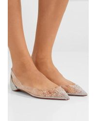 Christian Louboutin Degrastrass Embellished Pvc And Leather Point-toe Flats - Metallic