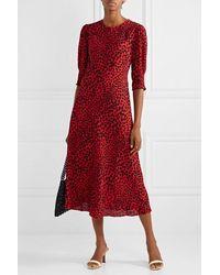 RIXO London - Jess Animal-print Crepe Midi Dress - Lyst
