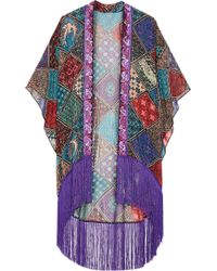 Anna Sui - Bird Of Paradise Fringed Printed Silk-chiffon Kimono - Lyst