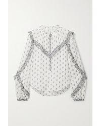 Veronica Beard - Abra Ruffled Floral-print Cotton-voile Blouse - Lyst