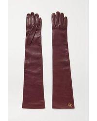 Valentino Garavani Embellished Leather Gloves - Purple