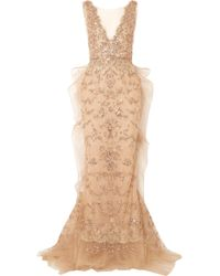 Marchesa - Embellished Tulle And Mesh Gown - Lyst