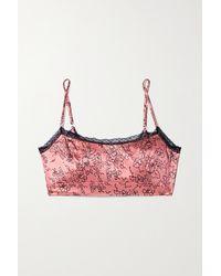 Morgan Lane Noelle Lace-trimmed Floral-print Silk-blend Satin Soft-cup Bralette - Pink