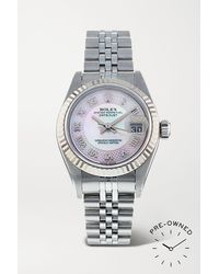 Rolex Pre-owned 2003 Lady-datejust Automatic 26mm Oystersteel, White Gold And Mother-of-pearl Watch - Gray
