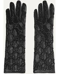 Gucci Gants En Tulle À Broderies - Noir