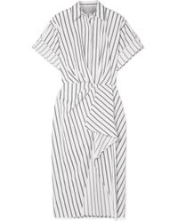 Jason Wu - Striped Cotton-poplin Midi Dress - Lyst