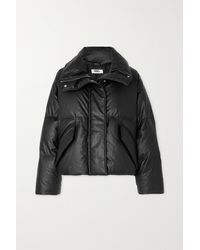 MM6 by Maison Martin Margiela Cropped Quilted Faux Leather Down Jacket - Black