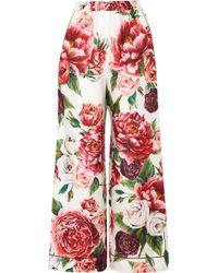 Dolce & Gabbana - Floral-print Silk-twill Wide-leg Pants - Lyst