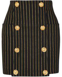 Balmain - Button-embellished Striped Denim Mini Skirt - Lyst