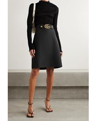 Gucci - Embellished Wool And Silk-blend Crepe Skirt - Lyst