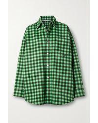 Alexander Wang Oversized Gingham Denim Jacket - Green