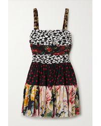 Dolce & Gabbana Ruched Patchwork Silk-blend Crepe De Chine Mini Dress - Black