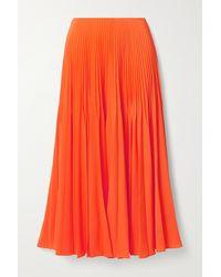 Jason Wu Pleated Crepe Midi Skirt - Orange