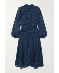 Cefinn Robe Midi En Georgette Imprimée Emilia - Bleu