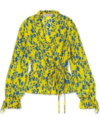 Preen Line - Taia Ruffled Floral-print Crepe Wrap Blouse - Lyst