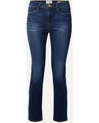 FRAME Le High Cropped Straight-leg Jeans - Blue