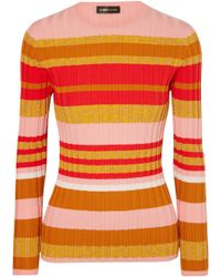 Stine Goya - Leonor Metallic Striped Ribbed-knit Jumper - Lyst