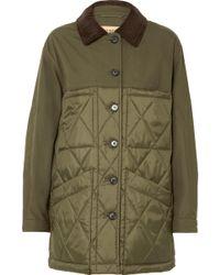 Burberry - Corduroy-trimmed Canvas And Quilted Shell Jacket - Lyst