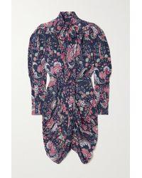 Isabel Marant - Batoa Ruched Floral-print Silk-blend Crepe De Chine Dress - Lyst