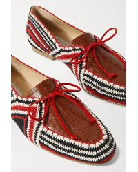 Gabriela Hearst Hays Crocheted Cotton And Croc-effect Leather Loafers - Red