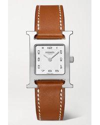 Hermès Heure H 21 Mm Kleine Uhr Aus Edelstahl Mit Lederarmband - Braun