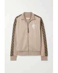 Fendi Jacquard-trimmed Satin-jersey Track Jacket - Natural