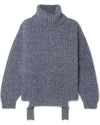Balenciaga - Ribbed Mélange Wool Turtleneck Jumper - Lyst