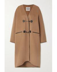 Totême Mantel Aus Einer Gebürsteten Woll-kaschmirmischung Mit Lederbesätzen - Mehrfarbig