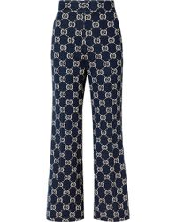 Gucci - Cotton-jacquard Flared Pants - Lyst