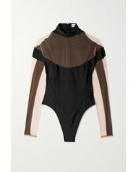 Mugler Tulle-paneled Stretch-jersey Thong Bodysuit - Black