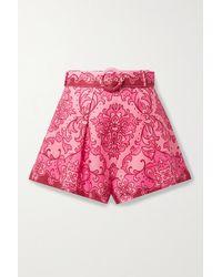 Zimmermann Nina Belted Printed Linen Shorts - Pink