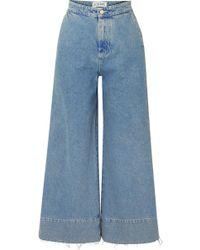 Loewe - Frayed Cropped High-rise Wide-leg Jeans - Lyst