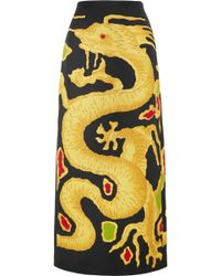 Valentino - Dragon-print Wool And Silk-blend Skirt - Lyst