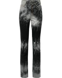Matthew Adams Dolan Tie-dye High-rise Slim-leg Jeans - Black