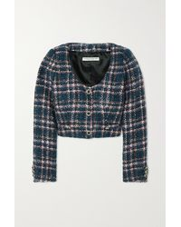 Alessandra Rich - Cropped Button-embellished Checked Tweed Jacket - Lyst