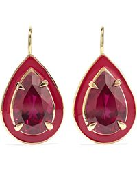 Alison Lou 14-karat Gold, Ruby And And Enamel Earrings Gold One Size