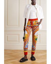 Dolce & Gabbana Jogginghose Aus Bedrucktem Baumwoll-jersey - Gelb