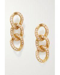 Oscar de la Renta Gold-tone Swarovski Crystal Earrings - Metallic